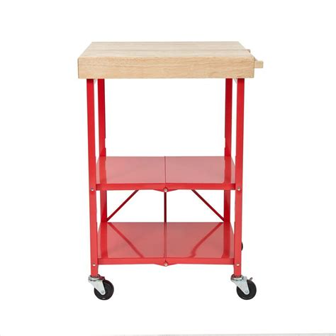 Origami 26 In W Rubber Wood Folding Kitchen Island Cart