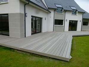 terrasse composite gris 1 idees pour la maison With idee de terrasse en composite