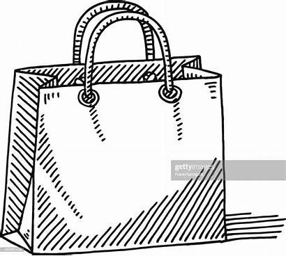 Shopping Bag Drawing Vector Cardboard Illustration Drawn