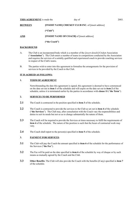 sports coach contract  templates docs word