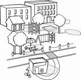 Neighborhood Clipart Buildings Drawing Neighbourhood Park Apartment Clip Various Street Sa sketch template