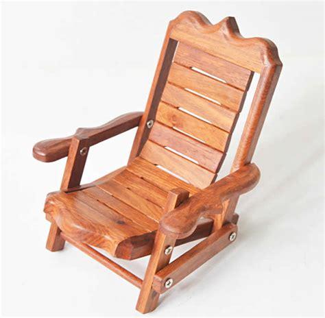 wooden deck chair desk mobile phone display holder