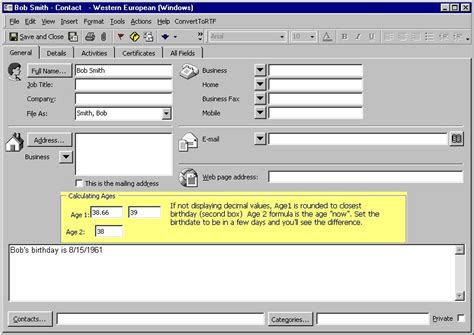 outlook form templates to calculate the age of an outlook contact