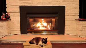 Cat Sleeping In Front Of A Gas Fireplace - 3 Hours