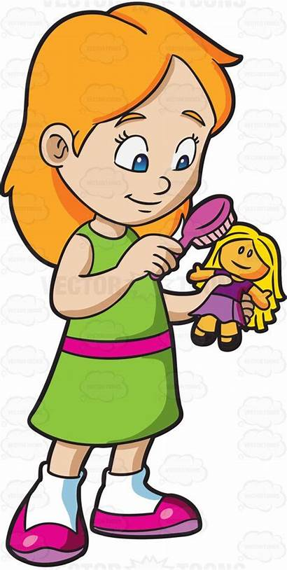 Clipart Dolls Brushing Playing Cartoon Drawing Young