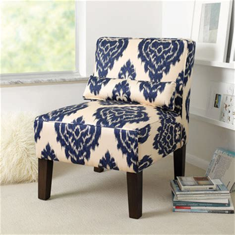 armless upholstered chair blue white ikat traditional