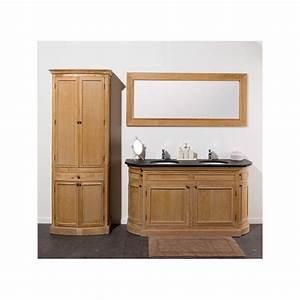 Meuble De Salle De Bain Avec Miroir : banio flamant meuble de salle de bain ch ne clair avec miroir et colonne 160x55x86cm ~ Nature-et-papiers.com Idées de Décoration