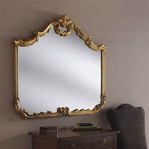 Gold, Ornate, Overmantle, Mirror