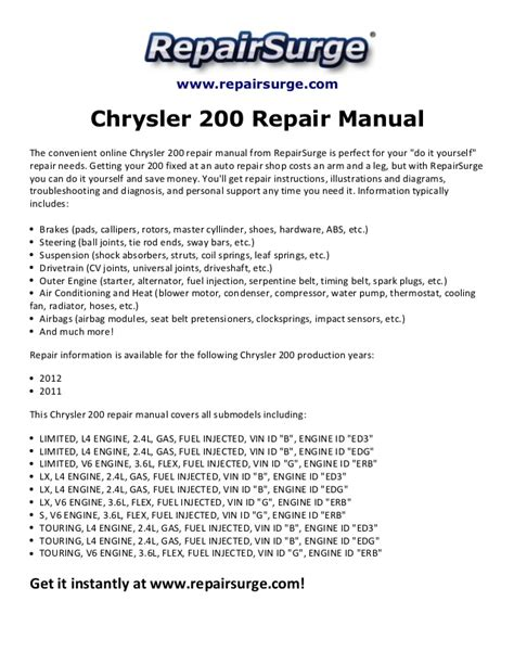 small engine maintenance and repair 2011 chrysler 200 seat position control chrysler 200 repair manual 2011 2012