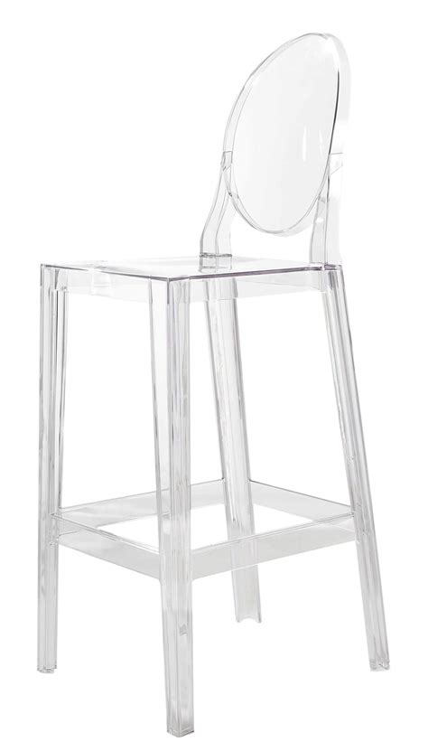 chaise en polypropylène one more bar chair h 65cm plastic cristal by kartell