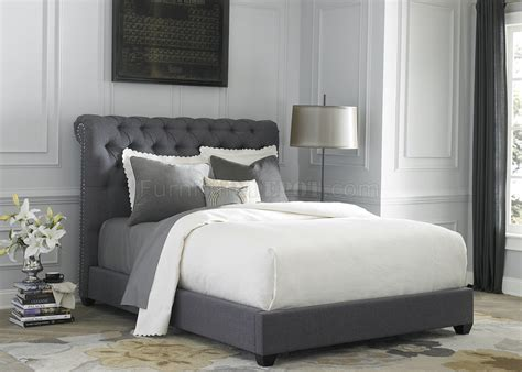 br upholstered sleigh bed  dark gray fabric  liberty