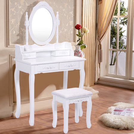 makeup vanity set walmart costway white vanity wood makeup dressing table stool set