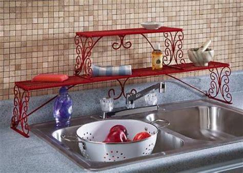 2 tier over the sink shelf red over sink metal rack shelf scroll design 2 tier new