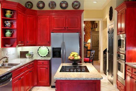 Red Kitchen Cabinet Doors With White Marble Granite