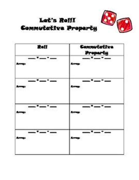 multiplication commutative property worksheet activities the two and columns