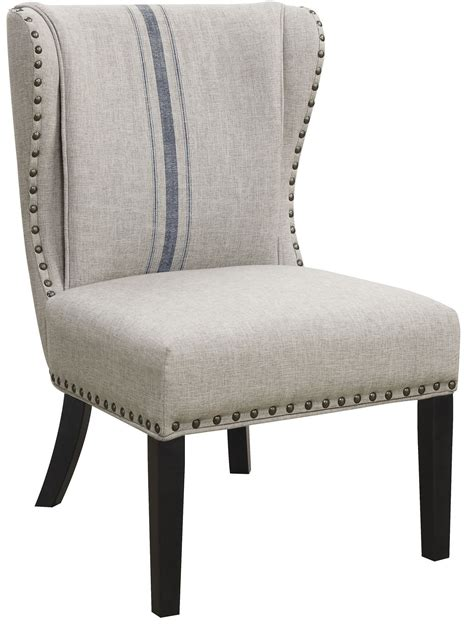 gray linen like fabric accent chair 902496 coaster furniture