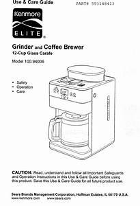 Kenmore Elite 10094006 1008492l User Manual Coffee Maker