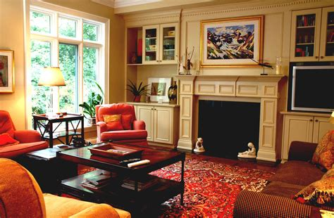 Warm Family Room With Fireplace And Tv Layout