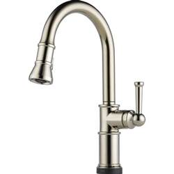 touch kitchen faucet brizo 64025lf pn artesso brilliance polished nickel pullout spray kitchen faucets efaucets
