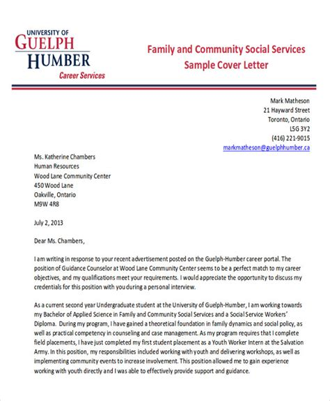 cover letter for family service worker 7 sle social worker cover letters sle templates