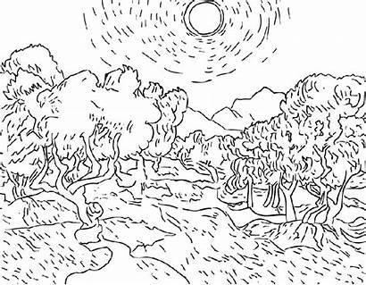 Paysage Dessin Gogh Coloriage Coloriages Mot Coloring