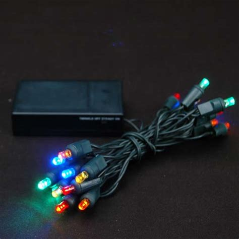 20 light battery operated multi colored on green wire