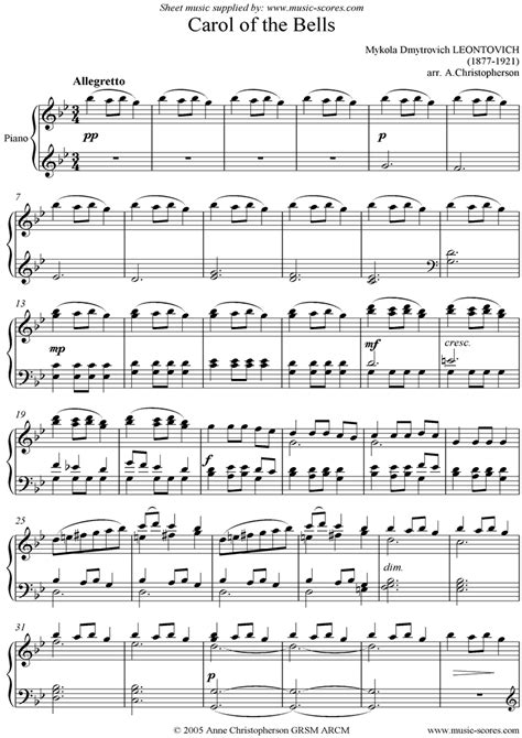 This is the free carol of the bells sheet music first page. Carol of the Bells by Leontovich arr. by A. Christopherson :) | Christmas sheet music, Music for ...