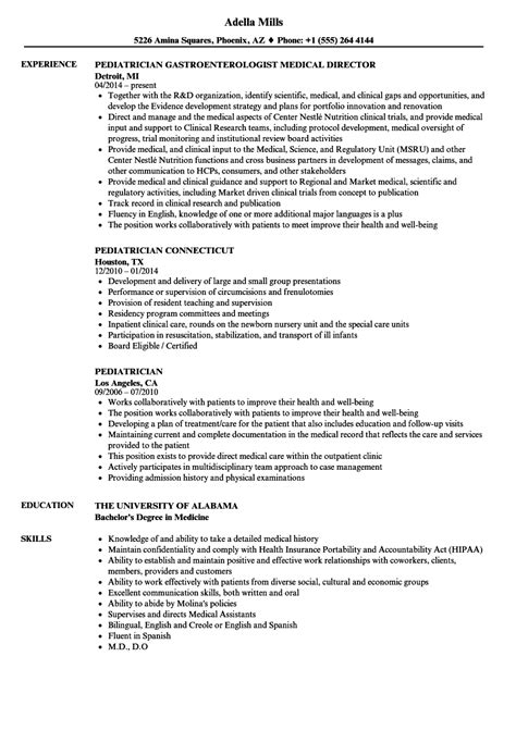 Pediatric Resume by Pediatrician Resume Resume Ideas