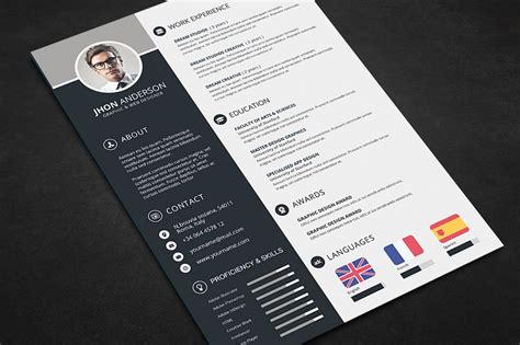Best Photoshop Resume Templates by Professional Resume Cv Template Free Psd Files