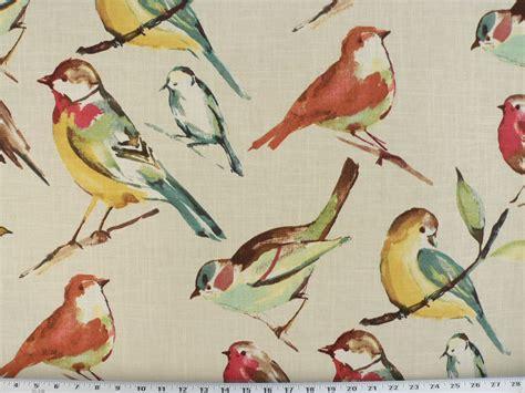 drapery upholstery fabric bird branch watercolor screen