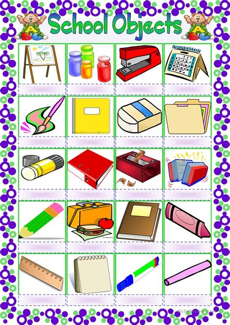 school objects pictionary worksheet  esl printable