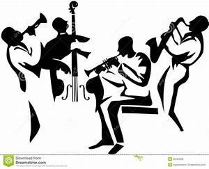 Jazz Musician Silhouettes   Jazz Quartet stylized ...
