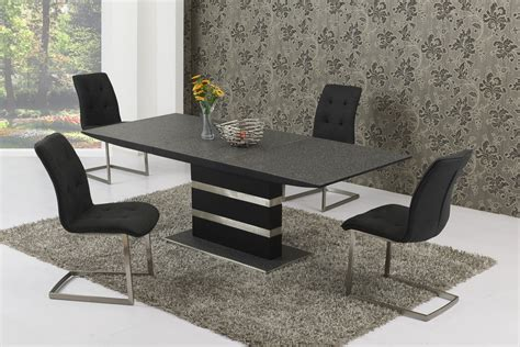 glass table six chairs small extending black stone effect glass dining table 6