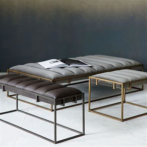 black channel tufted leather bench