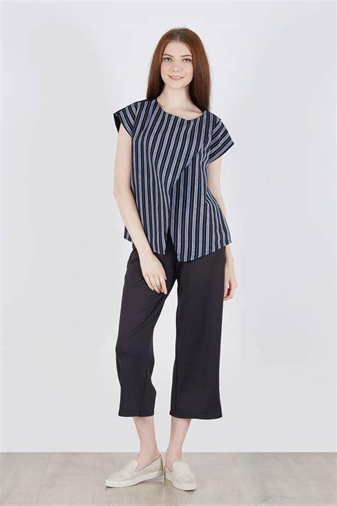 celana kulot stripe 106 rz sell sancia cross top black lurik blouse berrybenka