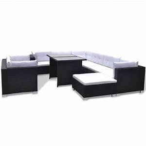 Polyrattan Lounge Set : vidaxl 28 piece dining lounge set black poly rattan ~ Whattoseeinmadrid.com Haus und Dekorationen