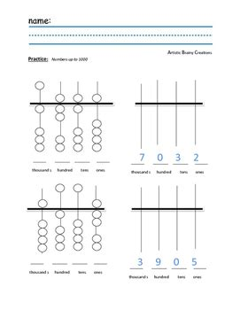 abacus practice worksheet up to 1000 place value by artistic brainy creations