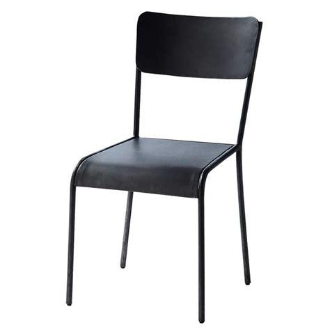 chaise indus en metal noire edison maisons du monde