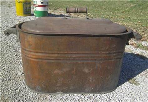 large copper tub antique large copper wash tub boiler kettle w wooden