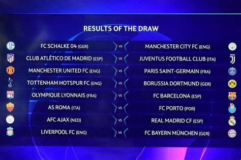 calendar   eighth finals   champions league