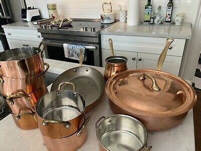 gorgeous real copper pans french mauviel brass handles stainless steel ebay