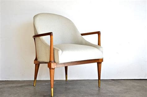 mid century modern side chair brass tipped legs and curved