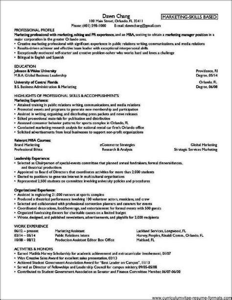 Professional Resume Formats For Freshers by Professional Resume Format For Freshers Pdf Free Sles
