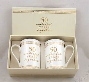 50th golden wedding anniversary pair of mugs gift set With gift for wedding anniversary