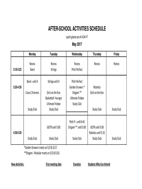 activity schedule examples  google docs ms word