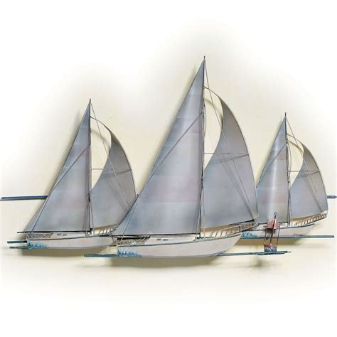 at the races sailboat metal wall sculpture lighthouse