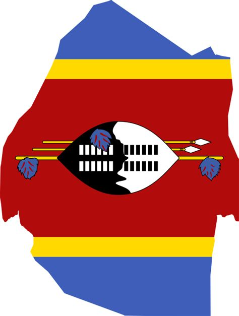 Clipart - Swaziland Map Flag