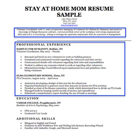 Resume Objective For Stay At Home by Resume Exles For Stay At Home Returning To Work
