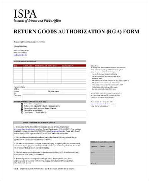 sample return authorization forms   documents