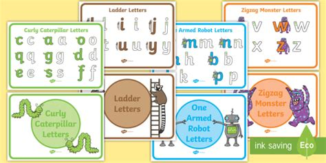 letter formation families display posters handwriting